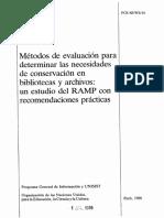 Métodos de Evaluación Conservación de Bibliotecas y Archivos
