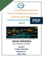 Deber N°3_Ecuaciones diferenciales_Comprobación de soluciones_Diego Miranda