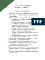 Cuestionario de Traumatología y Ortopédia