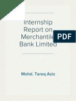 Internship Report on Merchantile Bank Limited