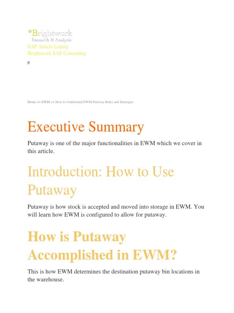 ewm putaway rules | Warehouse | Information Technology