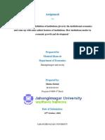 Assignment on institution economics