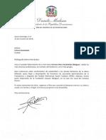 Carta de condolencias del presidente Danilo Medina a Liliana Hernández por fallecimiento de su hermana Carmen Rosa Hernández Balaguer