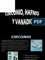 Circonio Hafnio y Vanadio
