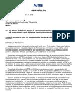 MITRE -- Carta-resumen en torno a la problemática del plan AICM+Santa Lucía (18 octubre 2018)