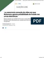TSE Determina Remoção de Vídeo de Bolsonaro