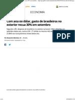Gasto de Brasileiros No Exterior Recua 30%