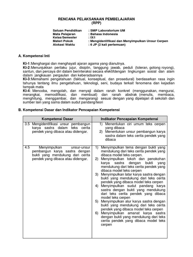 Rpp 3 5 4 5 Teks Cerpen Kelas 9
