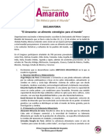 Declaratoria Congreso Mundial Amaranto