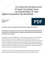 Albert Ratner, Co-Chairman Emeritus and Former CEO of Forest City Realty Trust, Urges Forest City Shareholders to Vote Against Acquisition by Brookfield