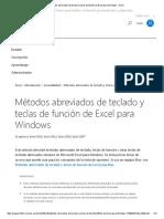 Métodos Abreviados de Teclado y Teclas de Función de Excel Para Windows - Excel