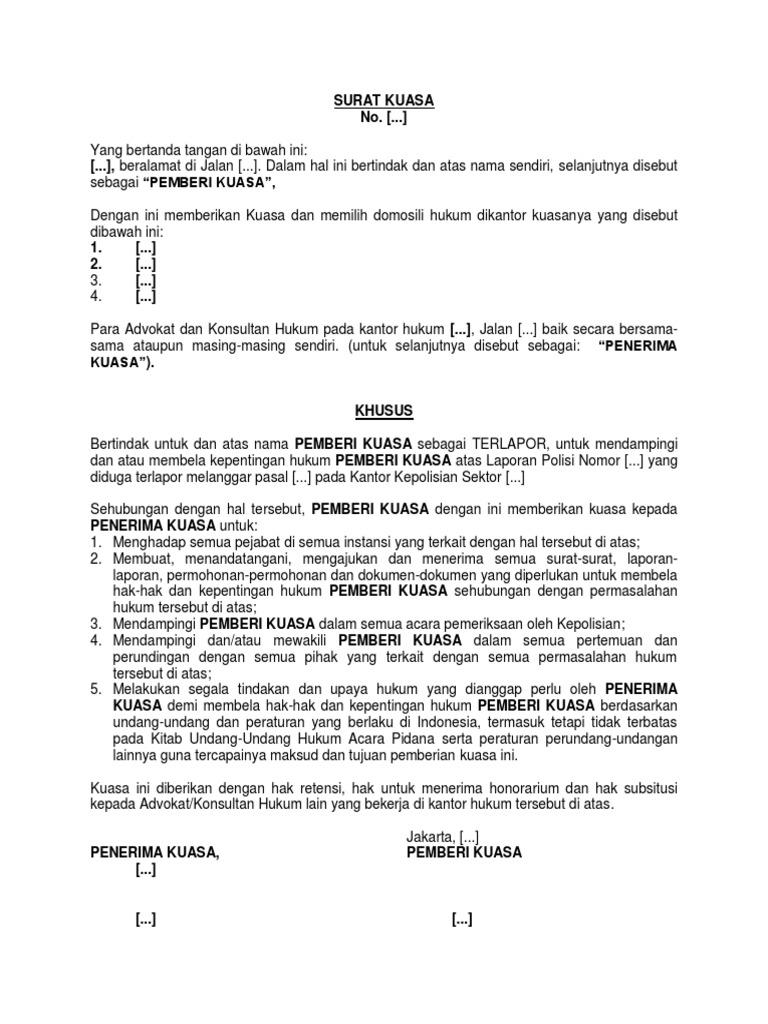 Contoh Surat Kuasa Pelaporan Ke Kepolisian Contoh Surat Terbaru 2020