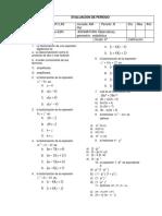 prueba de factorización selección múltiple