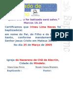Certificado de Batismo 3