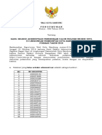 Hasil Seleksi Administrasi CPNS Pemkot Bandung 2018