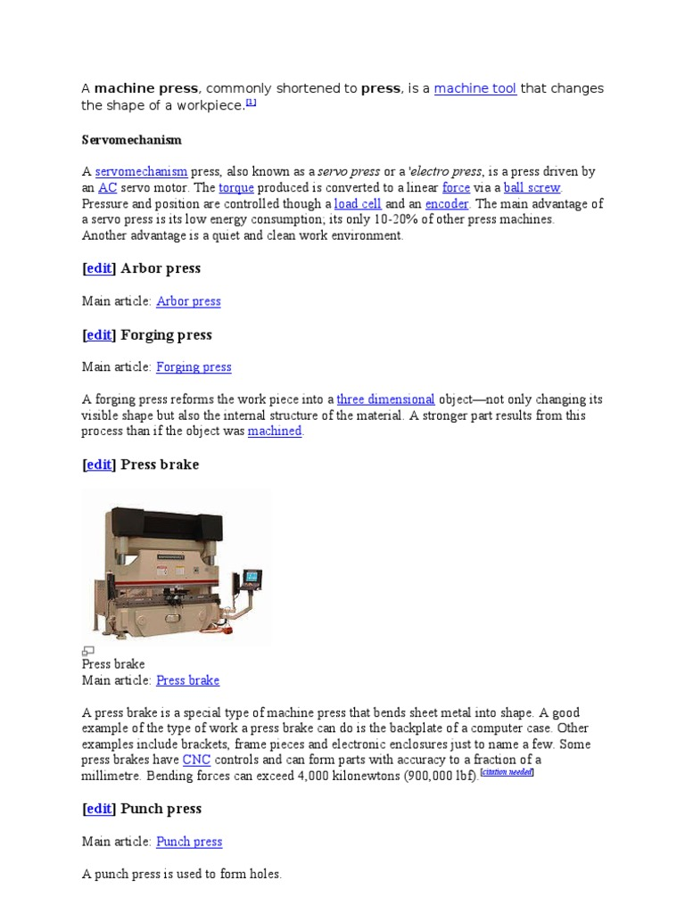 A Machine Press | Forging | Sheet Metal