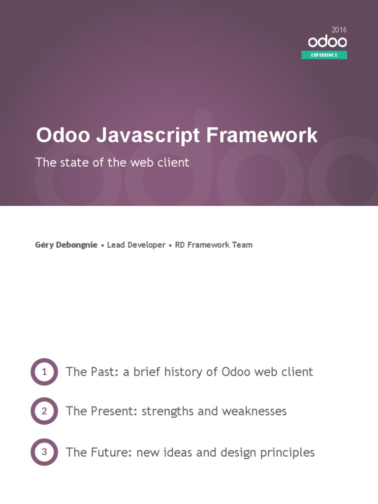 State of the Odoo JS Framework | Application Programming Interface