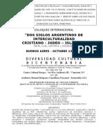 """Programa """"DOS SIGLOS ARGENTINOS DE INTERCULTURALIDAD  CRISTIANO - JUDEO – ISLÁMICA"""""""