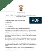 Investment Conference — Ramaphosa Address
