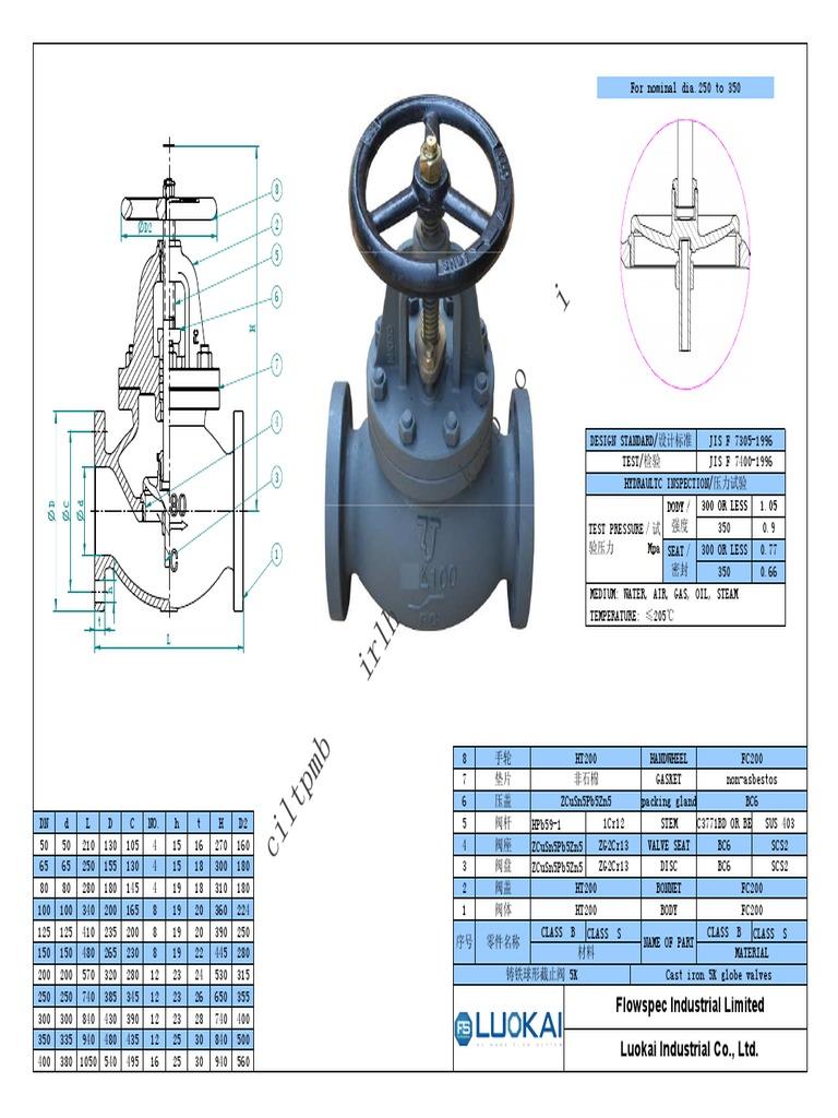 JIS F7305 Cast Iron Globe Valve Signed