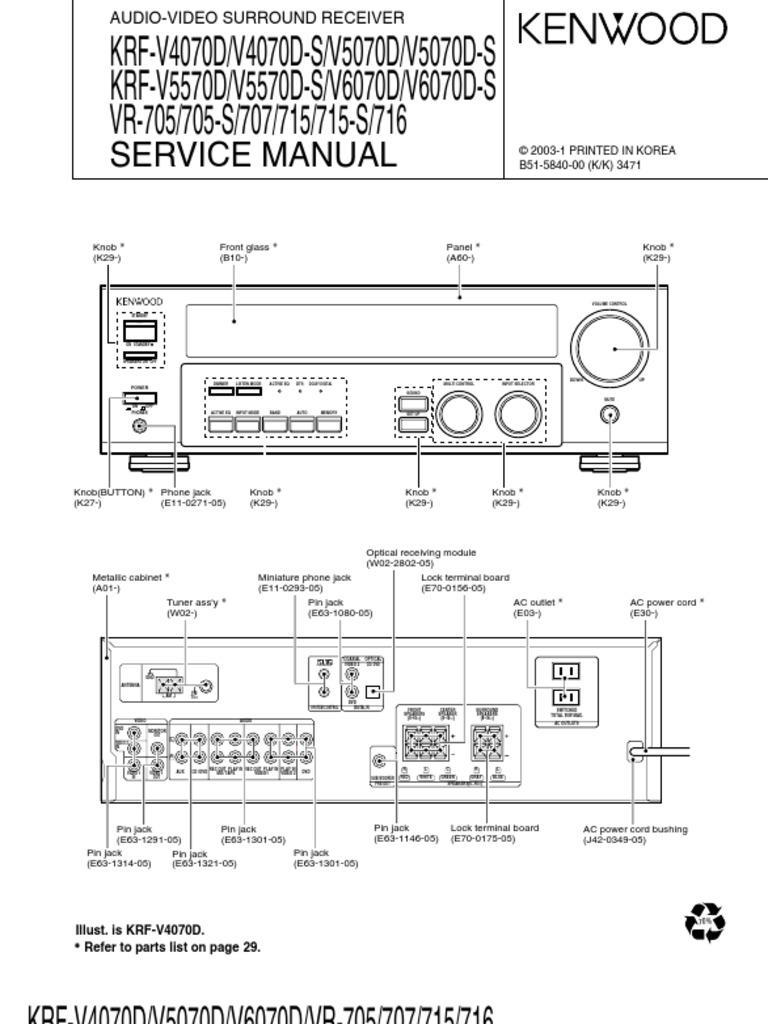 kenwood krf v4070d v4070d s audio video surround receiver repair manual
