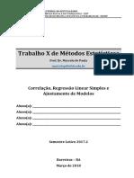 Trabalho de Métodos Estatísticos - Correlação, Regressão Linear Simples e Ajustamento de Modelos