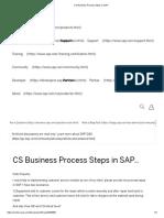 CS Business Process Steps in SAP.