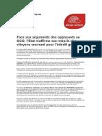 Communiqué de presse d'Alsace Nature sur la position gouvernementale vis-à-vis du GCO