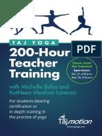 Taj Yoga Seattle 200-Hour Teacher Training Flyer With Michelle Befus and Kathleen Meehan Lorenzo