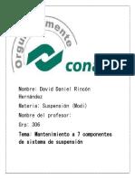 Mantenimiento a 7 componentes del sistema de suspencion