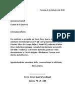 Panamá, Carta Al Ministerio Publico