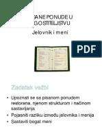 Jelovnik i Meni - pisane ponude u ugostiteljstvu