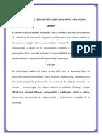 Mision y Vision de La Universidad Andina Del Cusco