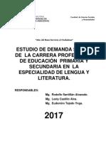 Estudio de Demanda Social de Carrera Profesional de Educación en Primaria y Secundaria en Lengua y Literatura -2018