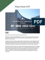 Harga Satuan ACP Hp. 0812 3353 5597