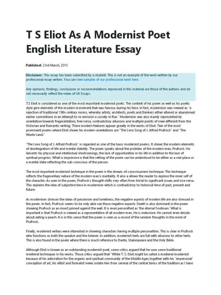 essay modernism poetry