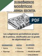 Los Subgéneros Periodísticos Apuntes