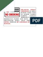 Dilarang Merokok Utk Dikamar