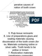Preoperative Causes of Discoloration of Tooth Crown