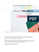 Making Title Block in AutoCAD and Using It in Template