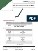 2.4 GHz – 2.5 GHz Dipole 2dBi Antenna for Reverse Polarity SMA