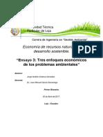 Tres Enfoques Economicos de Los Problemas Ambientales