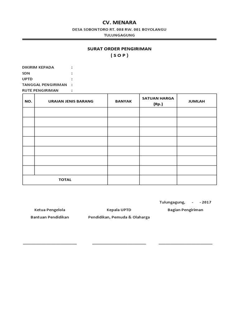 Surat Ijin Pengiriman Cv