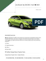 Rental & Sewa Toyota Yaris Harian Murah ☎ 0821 1313 0173 TravelBos.id