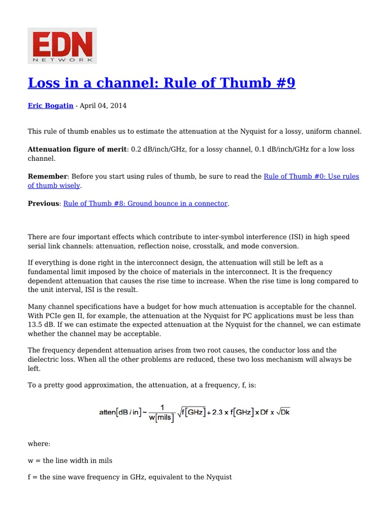Loss in a Channel Rule of Thumb 9 | Attenuation | Decibel