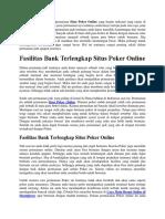 Fasilitas Bank Terlengkap Situs Poker Online