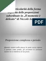 Sulle Particolarità Della Forma Implicita Delle Proposizioni Subordinate