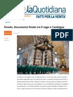 Sinodo 2018, Documento Finale Tra Il Vago e l'ambiguo