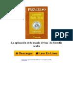 La Aplicacion de La Magia Divina La Filosofa Oculta by Paracelsus