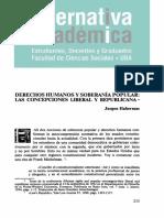 Habermas-Derechos Humanos y Soberanía Popular, La Versión Liberal y Republicana